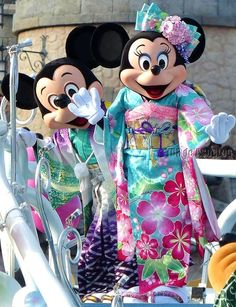 Mickey and Minnie in Kimono at Disney Sea, New Year 2014