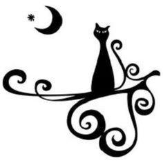gatos- tattoo Halloween Stencils, Arabic Calligraphy, Projects, Diy, Vintage, Manga, Tattoo Maori, Halloween Templates, Gatos