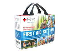Tamuli Health First Aid Kit (105-Piece) - Fully Stocked Medical Supplies and Emergency Survival Bag for Car Travel, Hiking, Camping, Sports & Home - Hospital-Grade