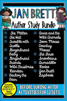 Looking for the perfect winter bundle? Want to use Jan Brett's books in a more meaningful way? This bundle is what you need. It includes skill specific activities for **11** titles as well as a Jan Brett Lapbook which can be used as a culminating activity. This 350+ page set works well for whole group, small group, partners, or stations. Make the reading-writing connection with these timeless classics.