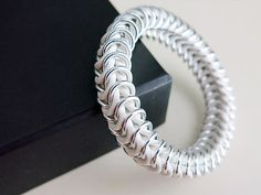 White Chainmaille Bracelet - White and Silver Stretch Bracelet by @AlycenMaille, $27.00 #summertrends #uniquejewelry