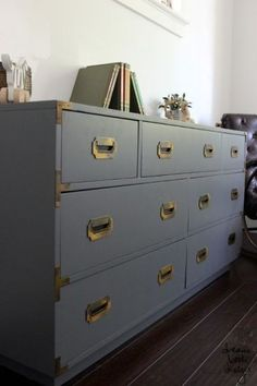 Campaign dresser makeover. The best way to paint furniture with two must have tools for this DIY project! on dreambookdesign.com