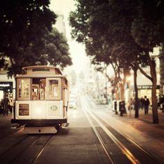 Cable Car Photograph, San Francisco, California, Travel Photography, Brown, Neutral, Autumn Colors - Union Square