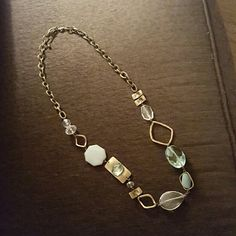 """Chico's long brass tone and glass bead necklace 44"""" long, large link chain, aqua and antiqued looking pieces.   Only worn 1x Chico's Jewelry Necklaces"""