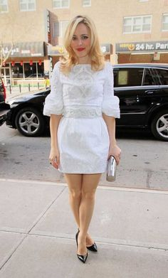 Rachel McAdams returns to her hotel in a white dress in NYC.