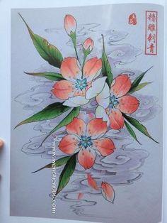 好看的樱花纹身手稿