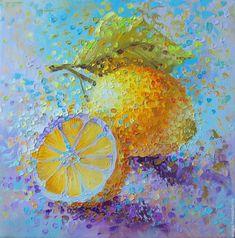 Купить Лимоны - желтый, лимон, натюрморт с фруктами, цитрусовый аромат, картина на кухню, картина в подарок