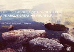 Life isn't about finding yourself, it's about creating yourself. Life is a Labyrinth