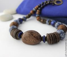 Купить Колье из натуральных камней и дерева Артемида - колье в этническом стиле, колье в стиле бохо