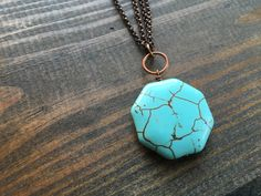 turquoise octagon necklace by createyourhappy on Etsy