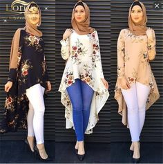 Fashion Middle East Daily Wear Muslim Blouse Turkish Fishtail Tops Flower Printed Turkish Tunics For Women