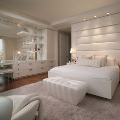 Bedroom : Stunning White Bedroom Design Ideas With Relaxing Atmosphere Remodeling White Bedrooms' White Bedroom Furniture Sets' White Bedroom Sets plus Bedrooms See related: Best master bedroom design ideas Luxury Apartments, Farmhouse Master Bedroom, Bedroom Sets, Home Bedroom, Luxurious Bedrooms, White Bedroom Set, Modern Bedroom, Woman Bedroom, White Bedroom Design