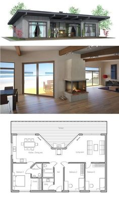 Elegant Building A House Ideas Floor Plans Open Concept Great Rooms Great Rooms Small House Plan … Small Modern House Plans, Small House Design, Tiny House Plans, Rectangle House Plans, Beach House Designs, Simple Home Plans, Tiny Home Floor Plans, Cheap House Plans, Retirement House Plans