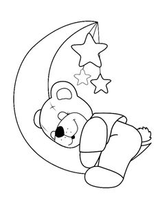 Bear Coloring Page, FREE Coloring Page Template Printing Printable Bear Coloring Pages for Kids, Bear, idea for felt application Quilt Baby, Baby Quilt Patterns, Applique Patterns, Baby Applique, Art Drawings Sketches Simple, Easy Drawings, Storch Baby, Motifs D'appliques, Baby Embroidery