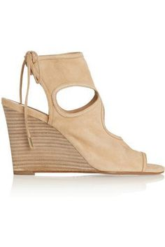 Sexy Thing cutout suede wedge sandals #wedgesandals #women #covetme #aquazzura
