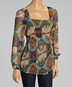 Look at this #zulilyfind! Brown & White Floral Scoop Neck Top - Women #zulilyfinds