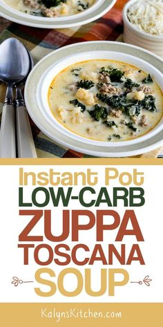 Instant Pot Low-Carb Zuppa Toscana Soup is a delicious soup that cooks in a flash. If you're enjoyed this soup in restaurants, you'll love this low-carb Instant Pot version. Zuppa Toscana Suppe, Toscana Soup, Best Soup Recipes, Low Carb Recipes, Healthy Recipes, Chili Recipes, Diabetic Recipes, Crockpot Recipes, Easy Recipes