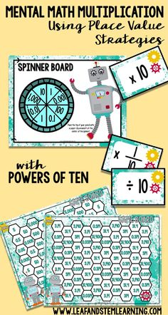 Students will multiply and divide by powers of 10 in order to develop mental math skills related to place value and the relationship to the product. In this game students will move through the maze game board as they multiply decimal numbers by powers of ten.                                                                                                                                                      More