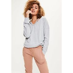 Missguided Oversized Washed Cut Out Neck Jumper ($40) ❤ liked on Polyvore featuring tops, sweaters, grey, oversized gray sweater, jumpers sweaters, oversized grey sweater, oversize sweater and jumper top