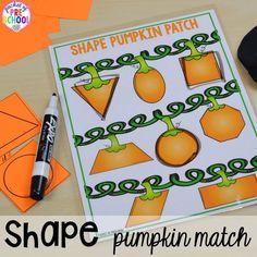 Pumpkin 2D shape trace game! Fall math, literacy, fine motor, art, sensory, and dramatic play activities for your preschool, pre-k, and kindergarten classroom.