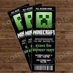 MINECRAFT Ticket Invitation - Minecraft Birthday Party