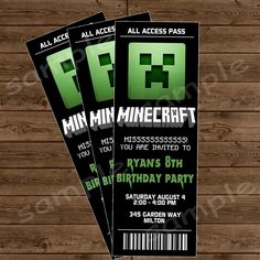 MINECRAFT Ticket Invitation - Minecraft Birthday Party - DIY Printable. $10.00, via Etsy.