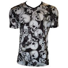 Insanity Men's Black White Skulls Printed V-Neck T-Shirt (38 BRL) ❤ liked on Polyvore featuring men's fashion, men's clothing, men's shirts, men's t-shirts, mens t shirts, mens v neck shirts, mens vneck shirts, mens black white striped t shirt and mens skull shirts