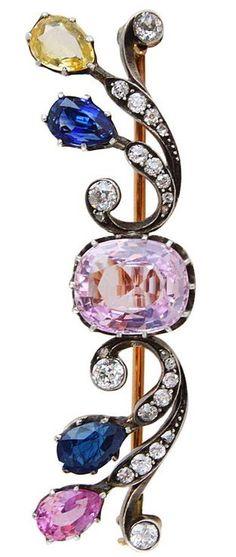 Belle Epoque French Pink Sapphire Diamond Brooch. A French sapphire and diamond broach, ca. 1900.