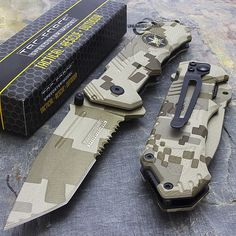"""Tac Force TF-458SF 8"""" Desert Camo Special Forces Spring Assisted Folding Knife - Unlimited Wares, Inc"""
