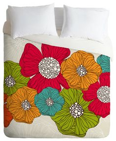 Valentina Ramos Flowers Queen Duvet Cover - Wake up on the bright side of the bed with this fun duvet cover. A garden of oversize flowers cu...