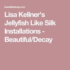 Lisa Kellner's Jellyfish Like Silk Installations - Beautiful/Decay