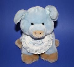 "Baby Ganz Blue Pig 1st First Piggy Bank Tan Plush Bib Boys 10"" Stuffed Animal #BabyGanz #PiggyBank"