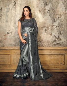 Let your sartorial choices speak volumes in this noteworthy grey glittery saree. Adorn it with delicate diamond jewels and look enchanting. Fancy Sarees, Party Wear Sarees, Half Saree Designs, Blouse Designs, Indian Dresses, Indian Outfits, Ethnic Fashion, Indian Fashion, Buy Designer Sarees Online