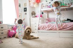 From nap time to story time—dogs are the best playmates a kid could ask for.