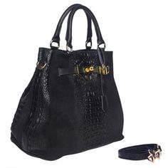 MarlaFiji Nancy Black Croc Embosses Italian Leather Handbag