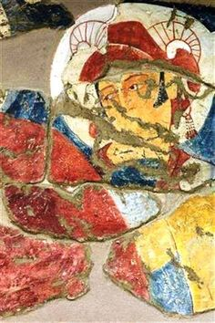 Frescoes suspected of Alexander the Great, which has drawn in Fayoztepa (1-2 century) Termez. Author Ryoichi Sato.