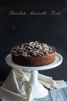 Chocolate Amaretto Torte- one of the best recipes I've made in a while! Sort of like a cake, sort of like a souffle, with an incredibly rich chocolate flavor and a hint of sweet almond. Cake for hubby Tart Recipes, Cupcake Recipes, Baking Recipes, Sweet Recipes, Cupcake Cakes, Dessert Recipes, Bundt Cakes, Cupcakes, Best Chocolate