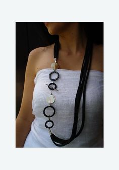 Mother of Pearl Statement Necklace, Bib handmade necklace, long black fabric necklace, horn necklace, gemstones jewelry, designer necklace, by Dendesign jewels
