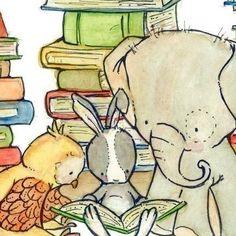 Our Book Club Reading Art Print for Baby, Children Nursery elephant ar