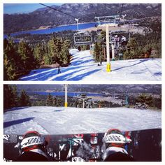 Top of The mountain about to head Down  #SnowSummit #snowboarding #MountainHigh #narrowDrops #Wintee