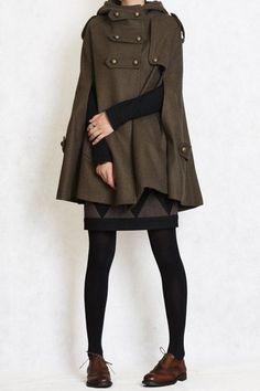 Winter Coat GREEN cape Hood hoodie coat Hooded Wool Cape Cashmere coat double breasted button coat Hood cloak women via Etsy. Mode Outfits, Fashion Outfits, Fashion Coat, Workwear Fashion, Fashion Blogs, Indie Fashion, Fashion Fashion, Fashion News, Fashion Models