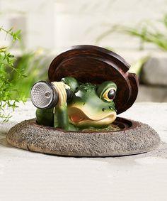 Look what I found on #zulily! Peeping Frog Solar Light Décor #zulilyfinds