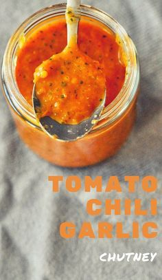This spicy and tangy yet refreshingly fresh Tomato-Chili-Garlic Chutney can be a great accompaniment to your toasts, sandwiches .. or even grilled meats.