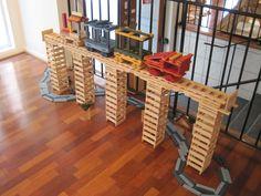 Easy bridge and colorful trains Jenga Blocks, Jenga Game, Wooden Cubes, Construction, Plank, Bridge, Coins, Train, School