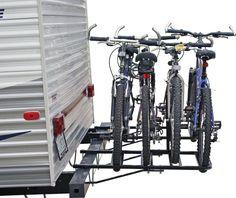 bike rack for the rear bumper of campers and RVs #bikecarrack #camping #biketransportation #storeyourboard