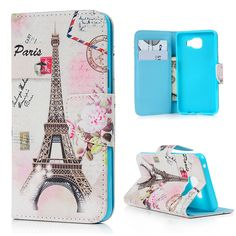 For Samsung Galaxy A5(2016) A5100 Case Cover Fashion Leather Wallet Card Case Color Paint Flower Tower Skin For Galaxy A5 2016