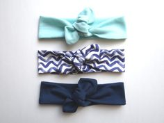 Organic Knotted Headbands for your baby. Soft and stretchy these are perfect for summer. Sea Foam green, Wave, and Navy blue.