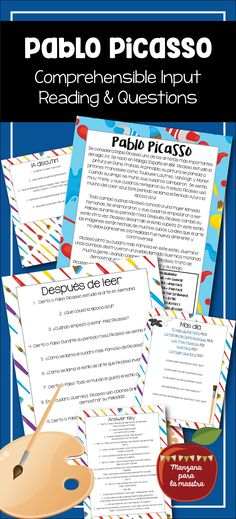 Read the passage and answer the before and after questions. Great for culture in the comprehensible input classroom Spanish III Spanish IV SPanish V Picasso reading comprehension Spanish Teaching Resources, Spanish Lessons, Spanish Art, Learn Spanish, Teaching Ideas, Spanish Teacher, Spanish Classroom, Spanish Grammar, Reading Comprehension Passages