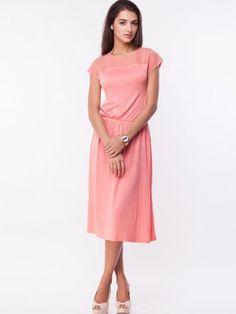 48bc1bf2f KOOVS Mesh Yoke Elastic Waist Midi Dress Elastic Waist, Party Wear Frocks,  Dress India