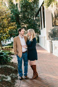 Fall engagement session in downtown Savannah, Georgia. See more on Savannah Soiree: http://www.savannahsoiree.com/journal/fall-engagement-session-in-downtown-savannah